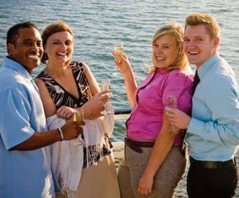 Hornblower Cruises, guests on the shore