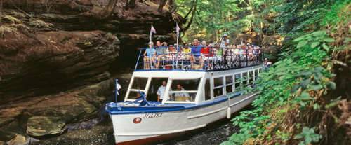 Enjoy a peaceful cruise through the Wisconsin Dells.
