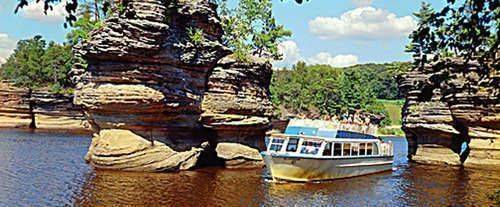 Enjoy a leisurely cruise on the Lower Dells Boat Tour.