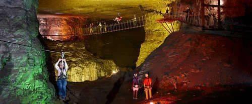 Louisville Zipline at Mega Cavern, lighted cavern