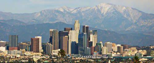 LA/Hollywood Sightseeing Tour - City View with Mountain