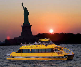 New York Water Taxi Fall Foliage Tour, sunset water taxi