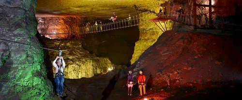 Louisville Zipline at Mega Cavern, lighted cavern